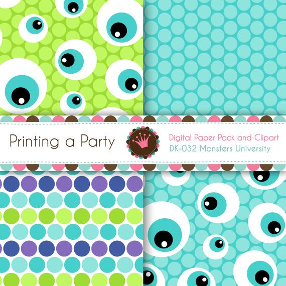 Digital Paper Pack and Clip Art Monsters by Printingaparty on Etsy
