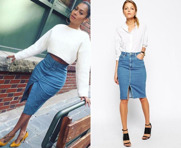La La Anthony wearing a midi denim skirt with a white cropped sweater- Get The Look!