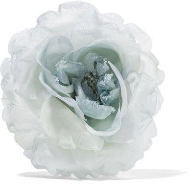 Gucci - Floral Silk Brooch - Gray
