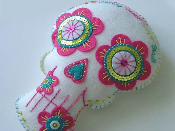 Felt Sugar Skull Pillow Decoration Plush by TheDollCityRocker