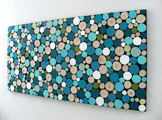 Abstract Circles  Rustic Sliced Wood Art by ModernRusticArt, Etsy