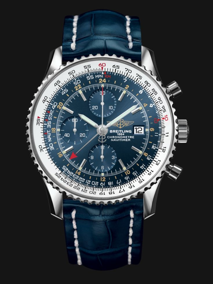 The Navitimer World displays a second timezone. A second central hand indicates the time in another location on a 24-hour scale.