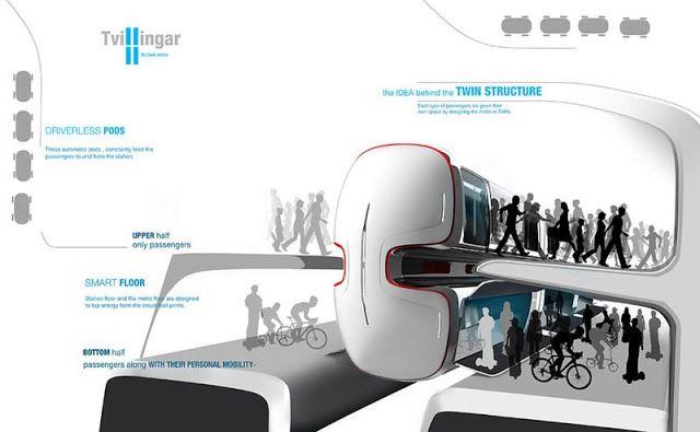Nuevo  tren de dos plantas diseñado para llevar los raíles en el cuerpo de los vagones