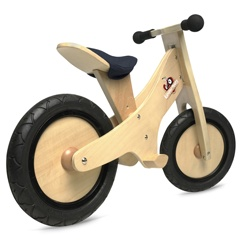 Kinderfeets is a wooden balance bike alternative to training wheels that comes in six different chalkboard finish colors or a natural finish. It provides a great starting point for children preparing to ride a conventional two-wheeled bicycle.
