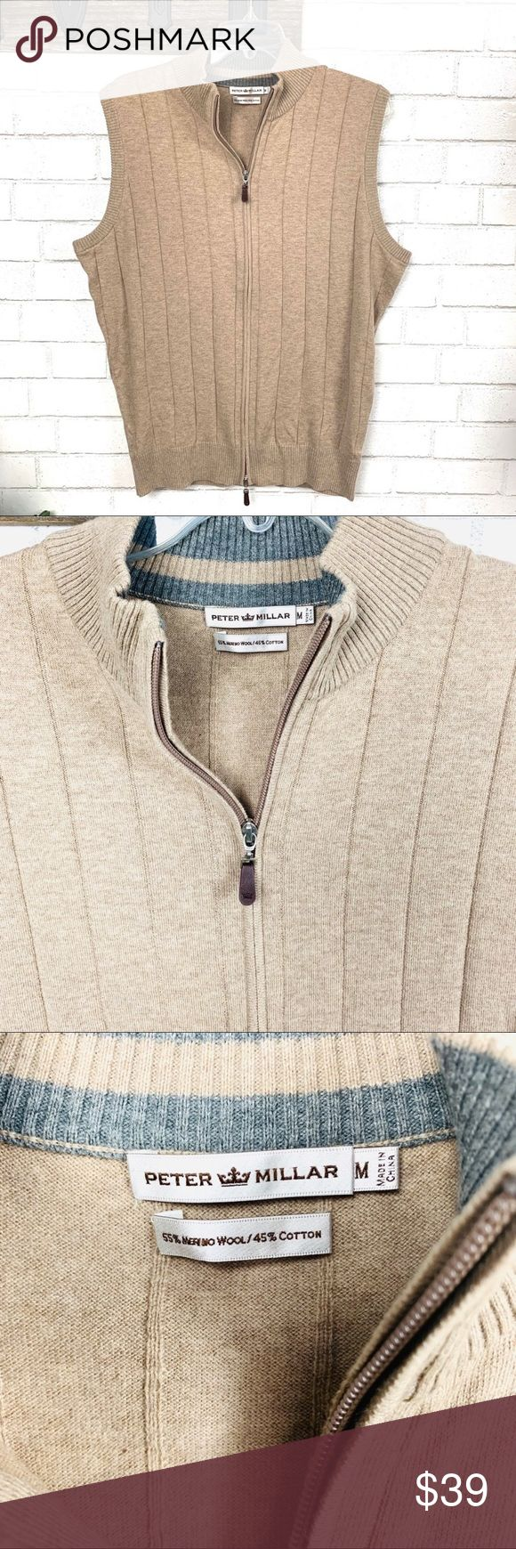 Peter Millar Merino wool blend Zip sweater vest M