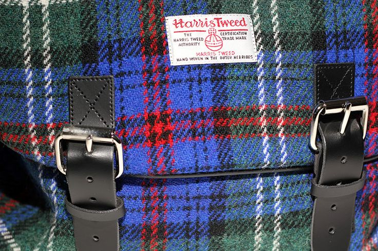 A close-up of our #Harris #Tweed laptop bag.