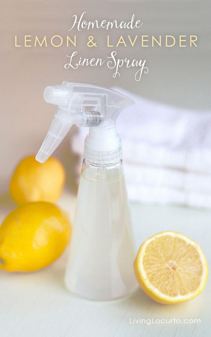 Casera con limón y lavanda de lino de pulverización.  LivingLocurto.com