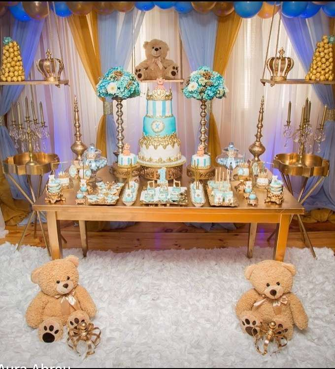 Blue and gold teddy bear birthday party! See more party ideas at CatchMyParty.com!