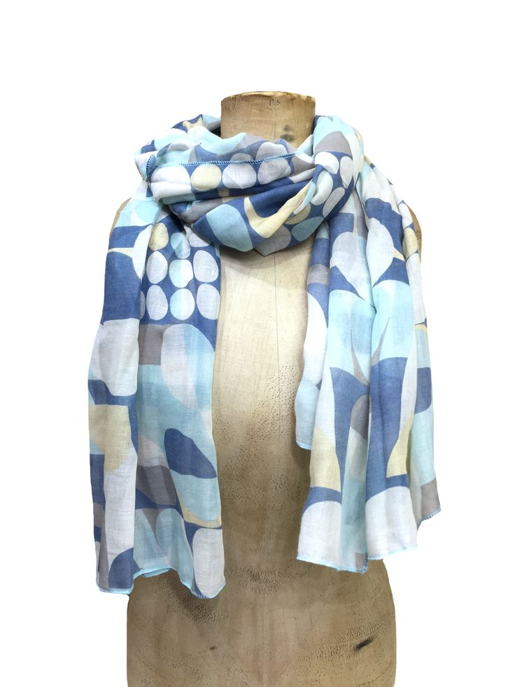 Hem&Edge scarf - discs & squares pattern #blue #aqua 100% viscose 80x180cm #beautifulblues #scarf #accessories #onebutton #hemandedge Click here to see more products from the One Button shop.