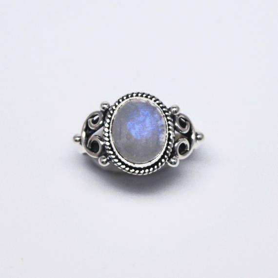 Moonstone ring – Silver moonstone ring - Monda ring - gemstone ring _ boho ring by Hirode on Etsy