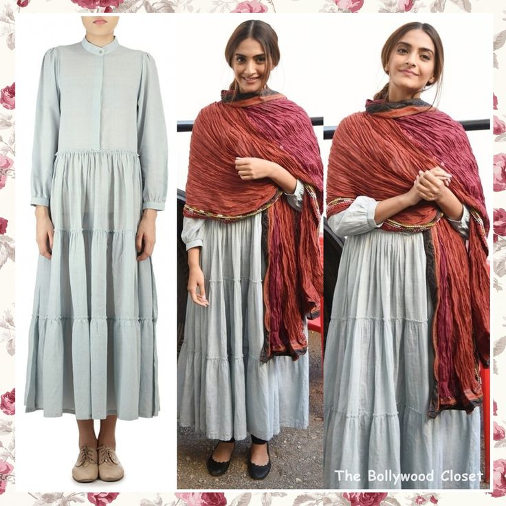 Sonam Kapoor was seen at Mehboob studio yesterday for 'Neerja' movie promotions wearing a Fossil Gray Carnation Dress from Bungalow 8 with red pleated dupatta and Chloé black flats. Son…