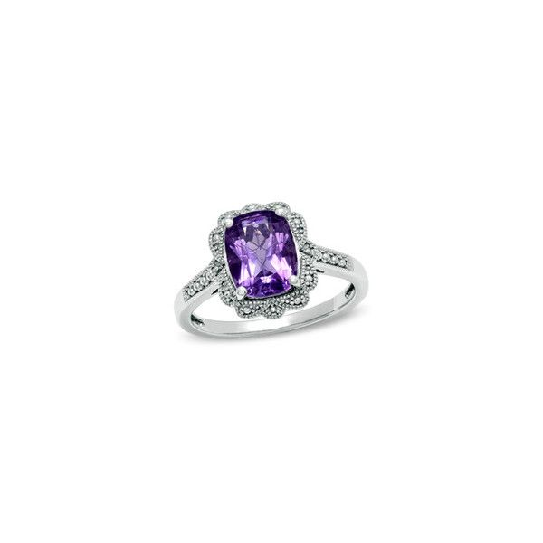 Cushion-Cut Amethyst Vintage-Style Ring in Sterling Silver - Size 7 -... (315 BRL) ❤ liked on Polyvore featuring jewelry, rings, sterling silver rings, vintage style sterling silver rings, zales jewelry, amethyst rings and vintage looking rings