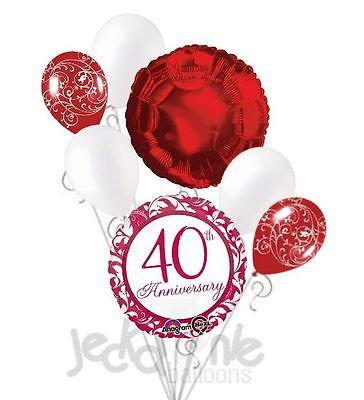 "Included in this bouquet: 7 Balloons Total 1 - 18"" ""40th Anniversary"" Ruby Damask Round Balloon 1 - 18"" Red Round Balloon 5 - 12"" Mixed Latex Balloons (3 Pearl White, 2 White Filigree on Red) These it"