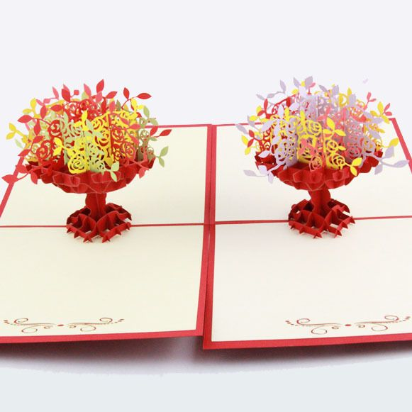 Teacher's Day greeting card 3D stereo big basket paper-cut greeting card company business staff blessing cards