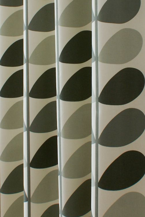 Multi Stem Warm Grey Curtain Fabric Orla Kiely