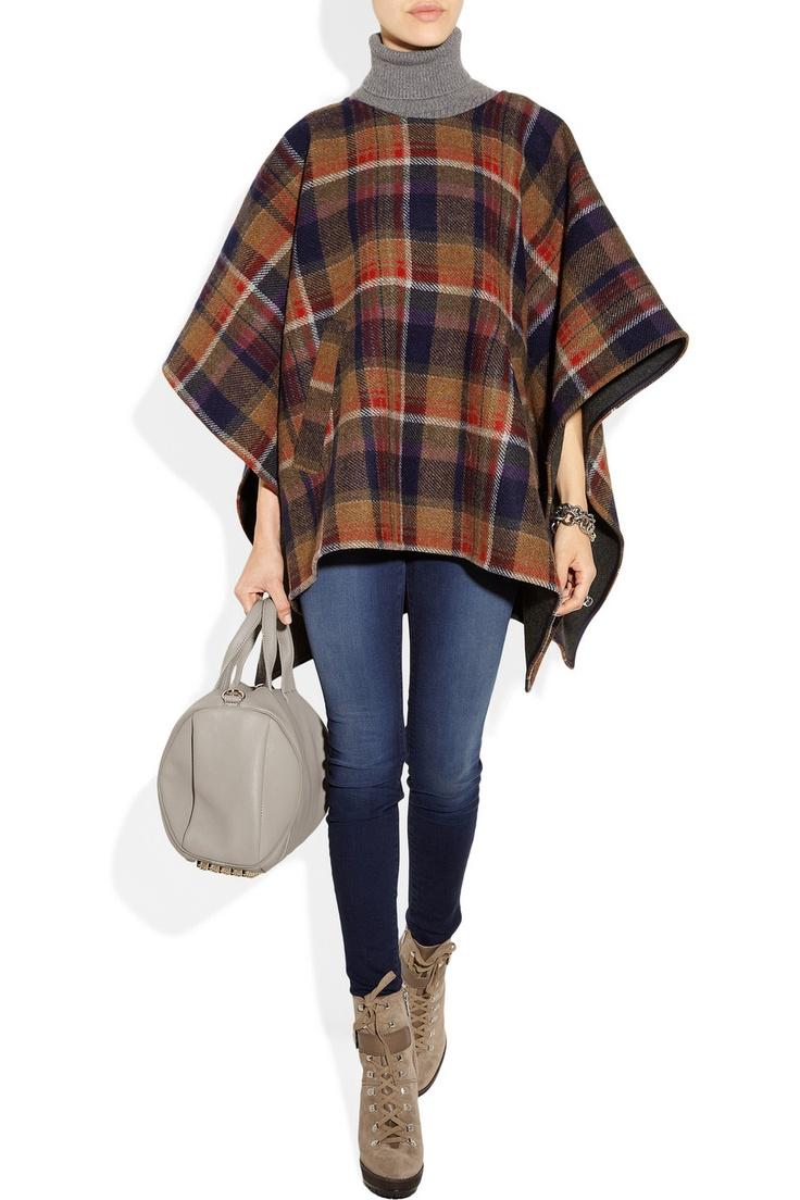 Aubin & Wills|Ouston plaid wool poncho|$340