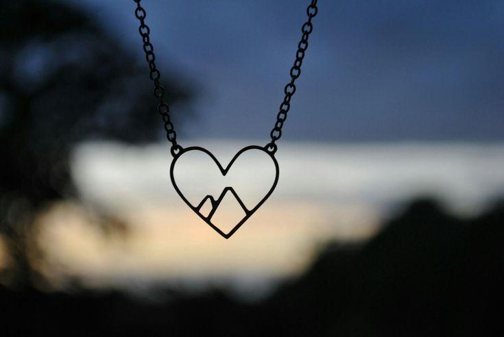 Love The Mountains Necklace Peakjewellery.com Handmade jewellery, Silver jewellry, Heart, Heart necklace, Mountain Jewellery, Camping jewelley, Nature Jewellery, Love, Love the outdoors, love nature, Mountains, Landscape, Etsy, Snowboard, Ski, Hike, Climbing