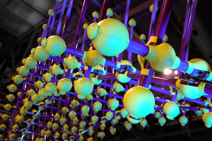 """Like a spiny but intriguing """"Sea Urchin"""" this unusual urban sculpture designed by the architect Giancarlo Zema is realized using 150 stainless steel tubes and related plastic joints. A new artistic way to transform anonymous scaffolding elements in a colorful cane structure. A work to be installed in parks or green small ponds, as a symbol of a new reconstruction of the city, dedicated to the renovation and the eco-sustainability, realized for Milan MADE Expo. #SteelArt #UrbanArt…"""