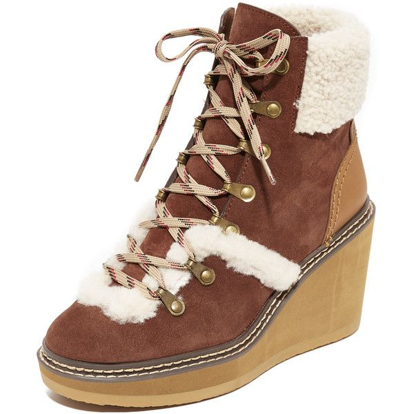 See by Chloe Eileen Wedge Shearling Booties (€380) ❤ liked on Polyvore featuring shoes, boots, ankle booties, azteco, platform booties, wedge heel booties, lace up wedge boots, platform wedge booties and lace up ankle booties