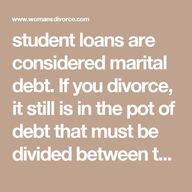 student loans are considered marital debt. If you divorce, it still is in the pot of debt that must be divided between the two of you. (Edit: The division of student loans during a divorce will depend on the individual circumstances of the couple involved.