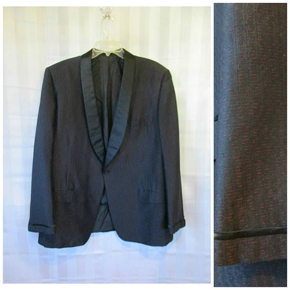 Vintage Tuxedo 1950s 1960s Dinner Jacket by Roy Allan 46 48