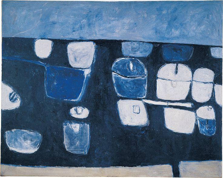 William Scott, Blue Still Life No. 1, 1957, Oil on canvas, 101.5 × 127 cm / 40 × 50 in, Galleria d'Arte Moderna, Genoa