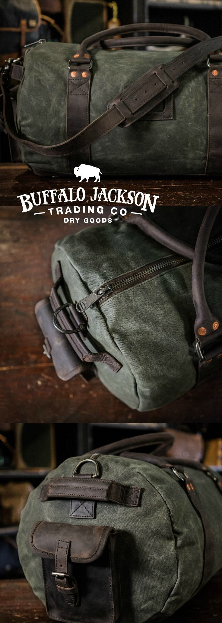 Crafted of waxed canvas and full grain leather with a distressed vintage finish, this duffle / duffel bag is constructed with the most durable of canvases, and highest grade leather. Plenty of room for all your work, sport, or travel products.