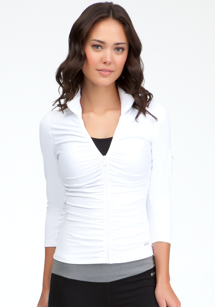 Ruched Funnel Jacket - Bebe Sport Web Exclusive - White - L