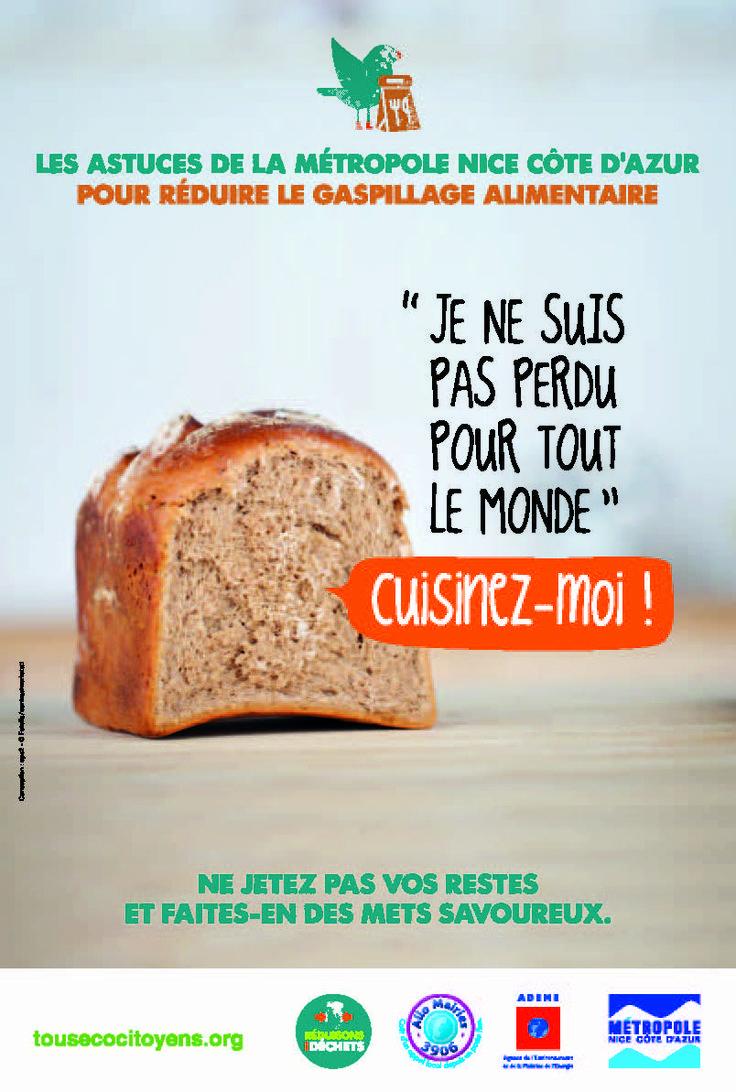Campagne de sensibilisation au gaspillage alimentaire, novembre 2013. Client : métropole Nice Côte d'Azur
