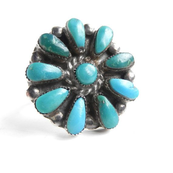 Vintage Sterling Silver Turquoise Ring  Size 8 by MaejeanVINTAGE, $42.00: Ring Sizes, Sterling Silver, Teal Flower, American Jewelry, Turquoise Rings, Vintage Sterling, Silver Turquoise, Native American