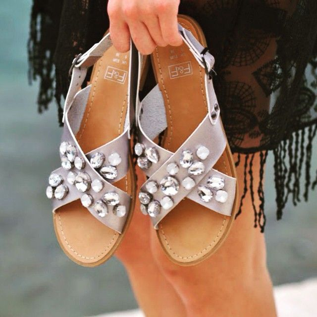 Exude poolside glamour in these embellished beauties. #TuesdayShoesday #embellished #summer #trend #sandals #flats #SS15 #Style #Fashion