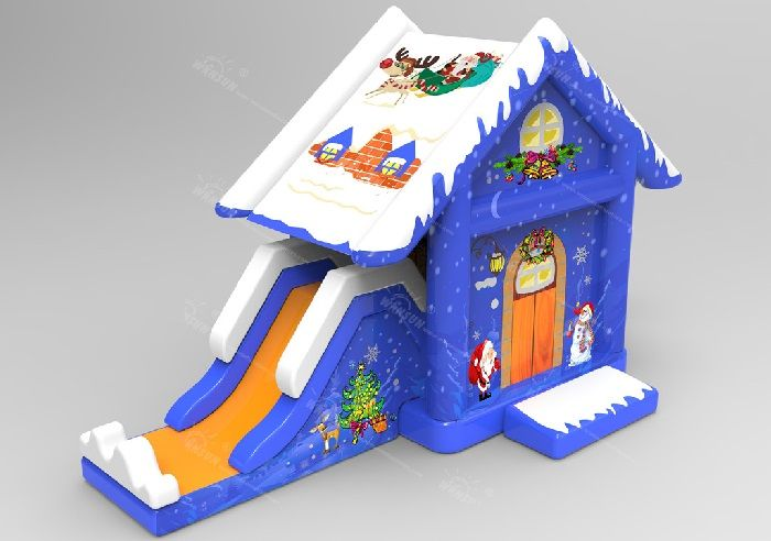 Special design Christmas Eve inflatable bouncy house N slide