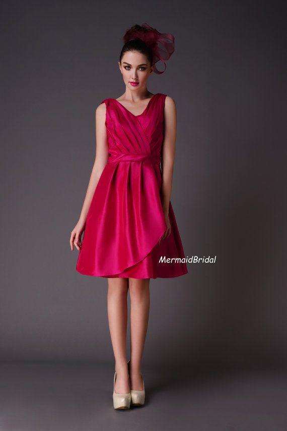 Elegant  bridesmaid gown V neck V back Magenta Bridesmaid Dresses Short