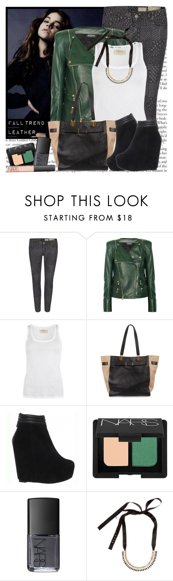 """""""Fall Trend: Leather"""" by christinavakidou ❤ liked on Polyvore featuring AllSaints, Balmain, Christian Louboutin, Madison Harding, NARS Cosmetics, Marni, leather jackets, printed jeans, hidden platforms and fall trend"""