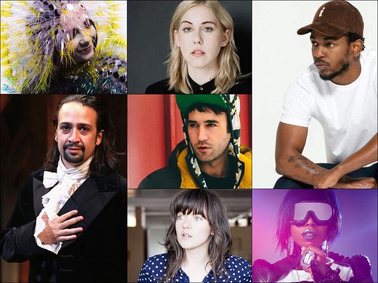 All Songs Considered: The Year In Music 2015 - Clockwise from upper left: Bjork, Torres, Kendrick Lamar, Missy Elliott, Courtney Barnett, Lin-Manuel Miranda in the Hamilton musical, Sufjan Stevens