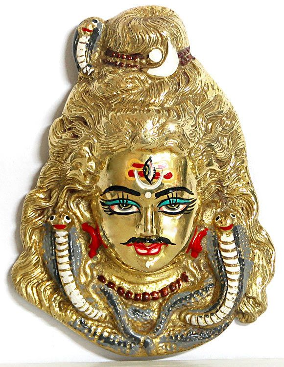 Lord Shiva Face - Brass Wall Hanging