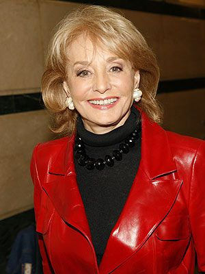 barbara walters                                     looks cool in red leather.