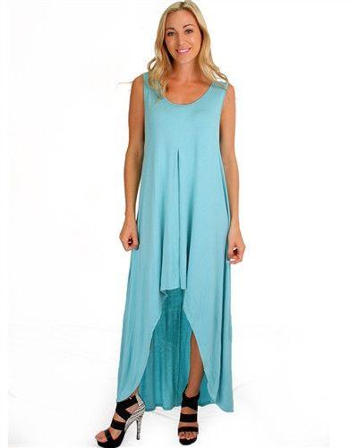 Mint Hi-Low Maxi Dress