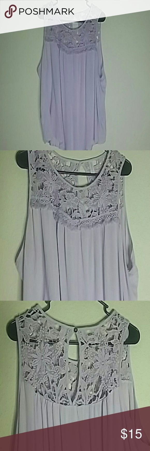 XHILARATION Bohemian Blouse (Tank) Target Brand-Lavender 100% rayon top. Features feminine crochet front and back neck line with peak-a-boo back. Great for layering. SIZE XXL. No trades!! Tops Blouses