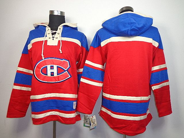 ... Old Time Hockey Montreal Canadiens Blank Lace-Up Pullover Hoodie  Sweatshirt - Red ... 3bb359223