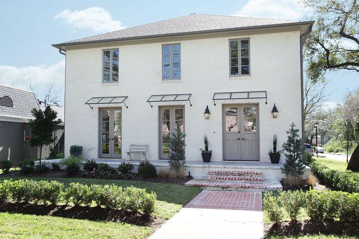 White brick gray trim door home exteriors exterior - White house gray trim ...