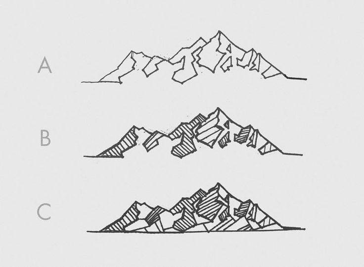 geometric mountain tattoo sketches
