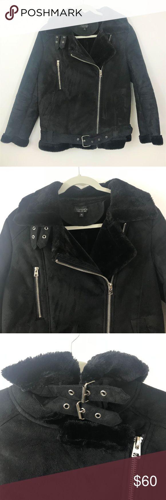 Faux Shearling Moto Jacket Size 6 Moto