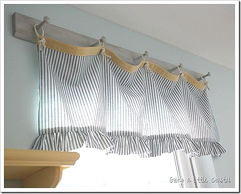 goingalittlecoastalcurtain Make or buy a peg board, hang your curtain over the pegs with sewn on loops of ribbon etc.