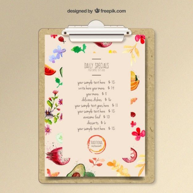 Watercolor menu template Free Vector
