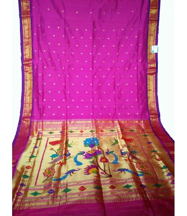 Purple Handloom Paithani Saree------------- Despite the predominance existence of designer wedding outfits, girls admire that old traditionalism while it comes to the matter of wedding attire instead of the wide range of new-age designer sarees or Lehenga sarees ---------Get the best bridal sarees from luxurionworld.com whats app +917710801701