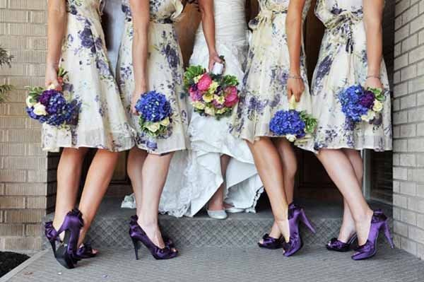 Lovely blue hydrangeas bouquets and ooh and those shoes are fabulous!
