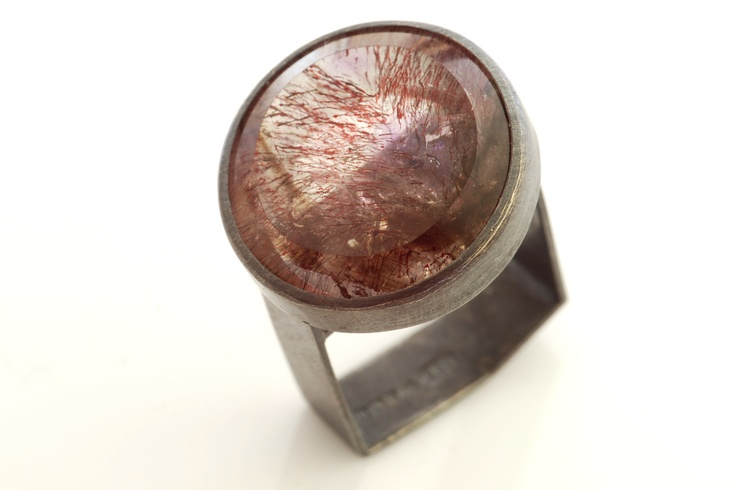 Monolith ring. Silver and Goethite in Quartz by Chris Boland.