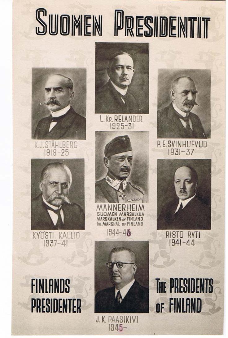 The first 7 presidents of Finland. J.K. Paasikivi was president until 1956. After him, the presidents have been Urho Kekkonen, Mauno Koivisto, Martti Ahtisaari, Tarja Halonen and now Sauli Niinistö.