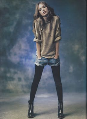 Oh! Jean shorts and tights again, really need to rock this look!